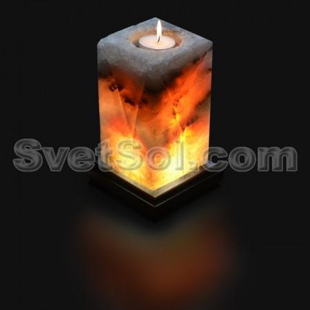 Соляная лампа-свеча с рисунком