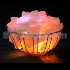 Корзина - необычный светильник из соли с цветным свечением