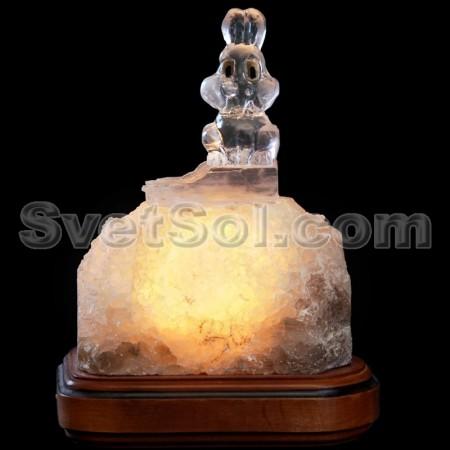 Зайчик - соляной светильник кристалл хамелеон