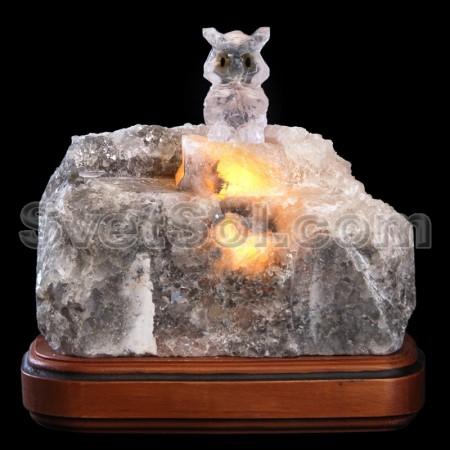 Сова - соляной светильник кристалл хамелеон